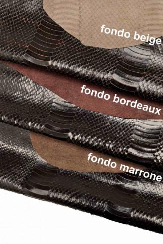 Italian leather, dark brown half calf...