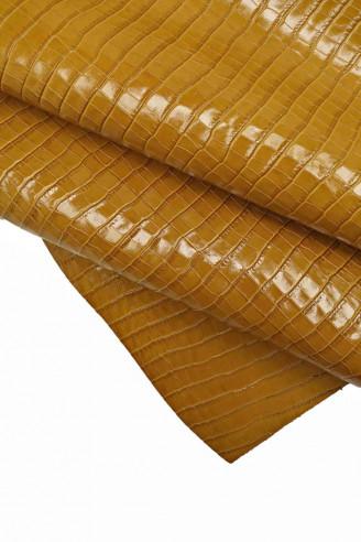 Italian leather, mustard yellow/tan...