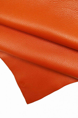 Italian leather, orange half calfskin...
