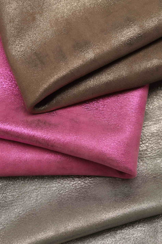 Italian leather, suede hides with...