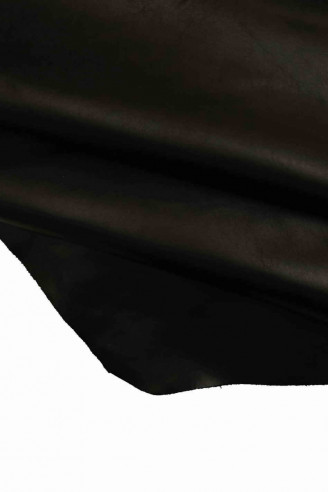 Italian leather soft skin   A4273-TB  La Garzarara REINFORCED with CANVAS black suede hide